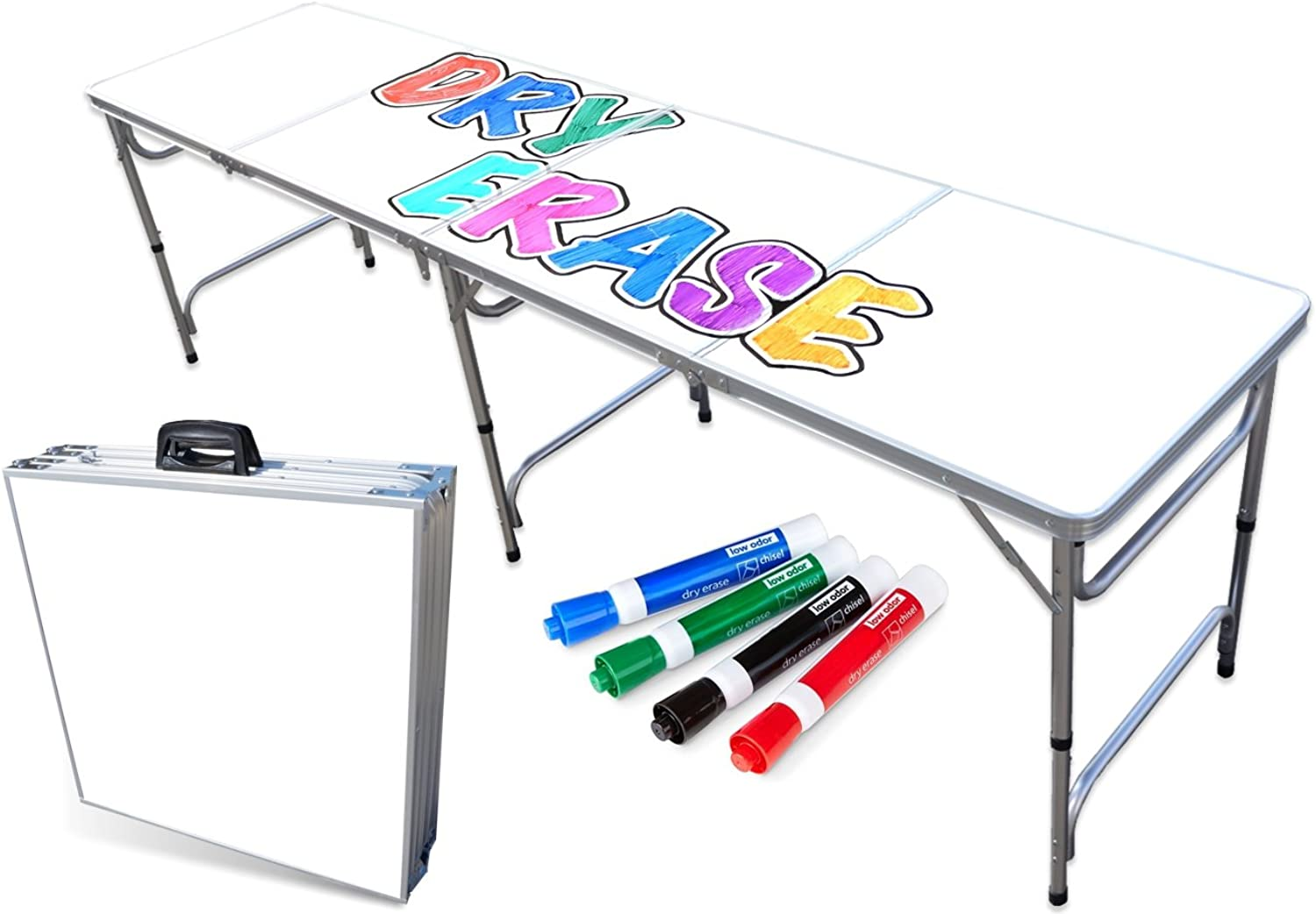 PartyPongTables  Portable Folding Table w Dry Erase Surface & Markers for Art, Classroom, Parties, and More 4 ft or 8 ft