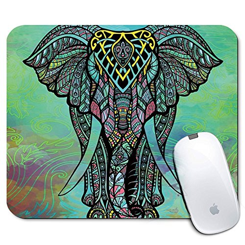 Personalized Rectangle Mouse Pad, Printed Mandala Elephant Pattern, Non-Slip Rubber Comfortable Customized Computer Mouse Pad (9.45x7.87inch)