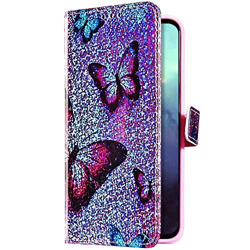 Uposao Kompatibel mit Samsung Galaxy S8 Plus Hülle Glitzer Bling Strass Diamant Bunt Muster Handyhülle Leder Hülle Wallet Flip Case Brieftasche Schutzhülle Tasche Magnetisch,Schmetterling