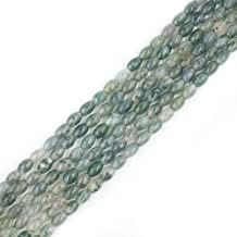 6x9mm Natural Green Moss Agate Beads Semi Precious Gemstone Beads for Jewelry Making Strand 15 Inch (40-44pcs)