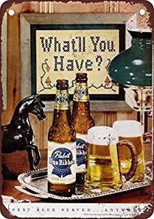 Bruyu5se Metal Sign, Tin Sign, 1951 Pabst Blue Ribbon Beer Vintage Look Reproduction Metal Tin Sign 12X18 Inches