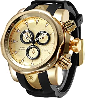 Astarsport New Edition Mens Fashion Casual Business Watches Quartz Waterproof Sport Large Dial Big Heavy Silicone Band Wrist Watch for Men Longer and More Comfortable Strap