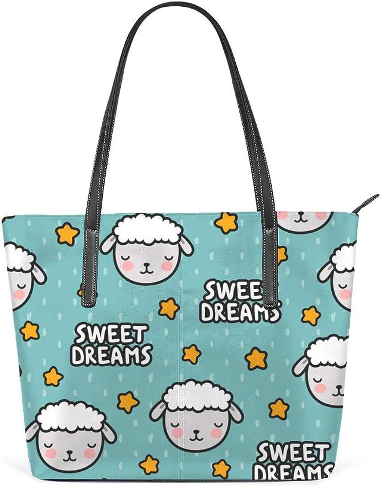 Shoulder Bag for Women Tote Bags Leather Shopper Bag Large Work Cartoon Sheep Sweet Dreams Decor Handbags Casual Bag