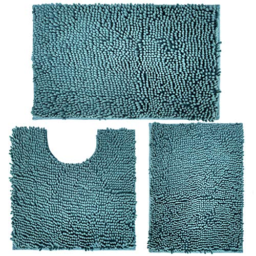 Christmas Bathroom Rugs Set 3 Piece, Chenille Bath Mat Extra Soft and Absorbent Shaggy Rugs, Machine Wash and Dry, Perfect Plush Carpet Mats for Tub, Shower, and Bath Room, Washable Carpets Set