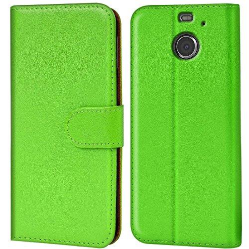 Verco HTC 10 Evo Hülle, Handyhülle für HTC 10 Evo Tasche PU Leder Flip Case Brieftasche - Grün