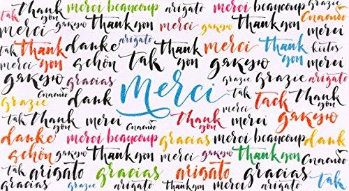 afie 69-4223 Carte Merci Remerciements Paillettes Merci Remerciements Compliments Félicitation Amour Amis Famille Bonheur Doré Or Dorure Multicolore Cadeau