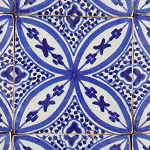 Casa Moro orientalische Keramikfliese Ifsane 10x10 cm blau weiß handbemalte marokkanische Fliese Kunsthandwerk aus Marokko Wandfliese für schöne Küche Dusche Badezimmer   FL7150