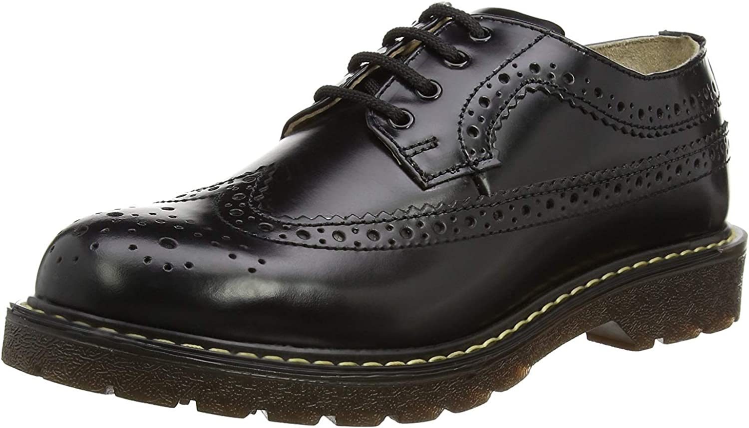 Smart Range Grinders Bertrum Black Unisex American Brogue Casual Real Leather Lace Up shoes