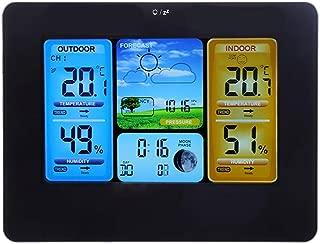 ワイヤレスウェザーステーション、LCDデジタルワイヤレスウェザーステーションクロック予報ステーション温度計屋内および屋外湿度とリモート (ブラック)