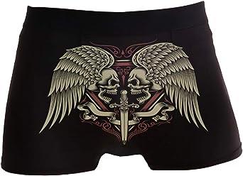 ZZKKO - Boxer da uomo con teschi e spada, traspiranti, elasticizzati, con custodia, taglie S-XL