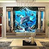 Knncch Papel Tapiz 3D Mural Arte Decoración Imagen Telón De Fondo Azul Delfín Submarino Hotel Romántico Restaurante Sala De Estar Mural De La Pared Panel De Pintura-350X250Cm