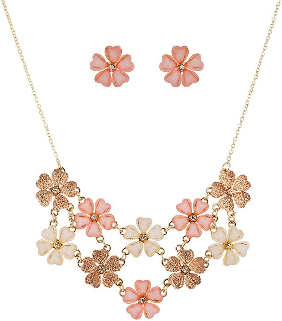 LUX ACCESSORIES Ivory Peach Glitter Flower Floral Statement Necklace Earring Set