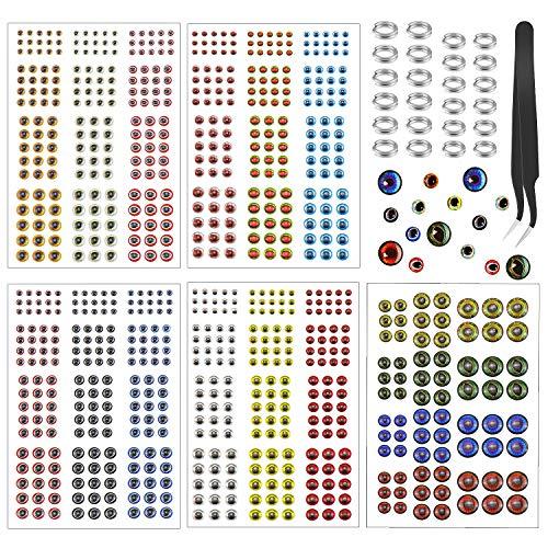 SelfTek 804er-Pack Angelköderaugen mit 20 Angelköder-Ringen und einer Pinzette 2D/3D/4D/5D künstliche holografische Fake Augen für Angelköder und Fliegenbinden