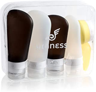 Yianess TSA Approved Non Toxic Food Grade Silicone Travel Set - 4 Bottles with Jar + Toothbrush Cover+ Pouch
