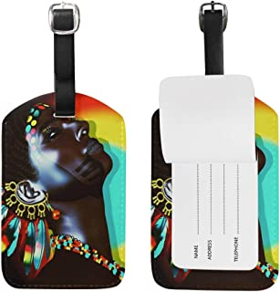Luggage Tags Beautiful African Woman Wearing Feather Earrings Travel ID Identifier for People