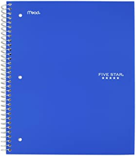 """Five Star Spiral Notebook, 2 Subject, College Ruled Paper, 120 Sheets, 11"""" x 8-1/2"""", Color Selected For You, 1 Count (824230)"""