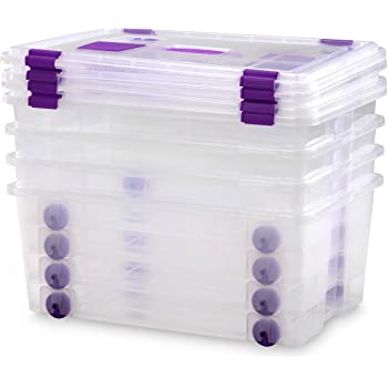 70 litros caja de plástico, caja de plástico transparente, cajas con ruedas y asa de contenedores, immagazzinoggio plástico, contenedores, almacenaje con tapa, en lata orgánico, silla de conservación - CS-420: Amazon.es: Hogar