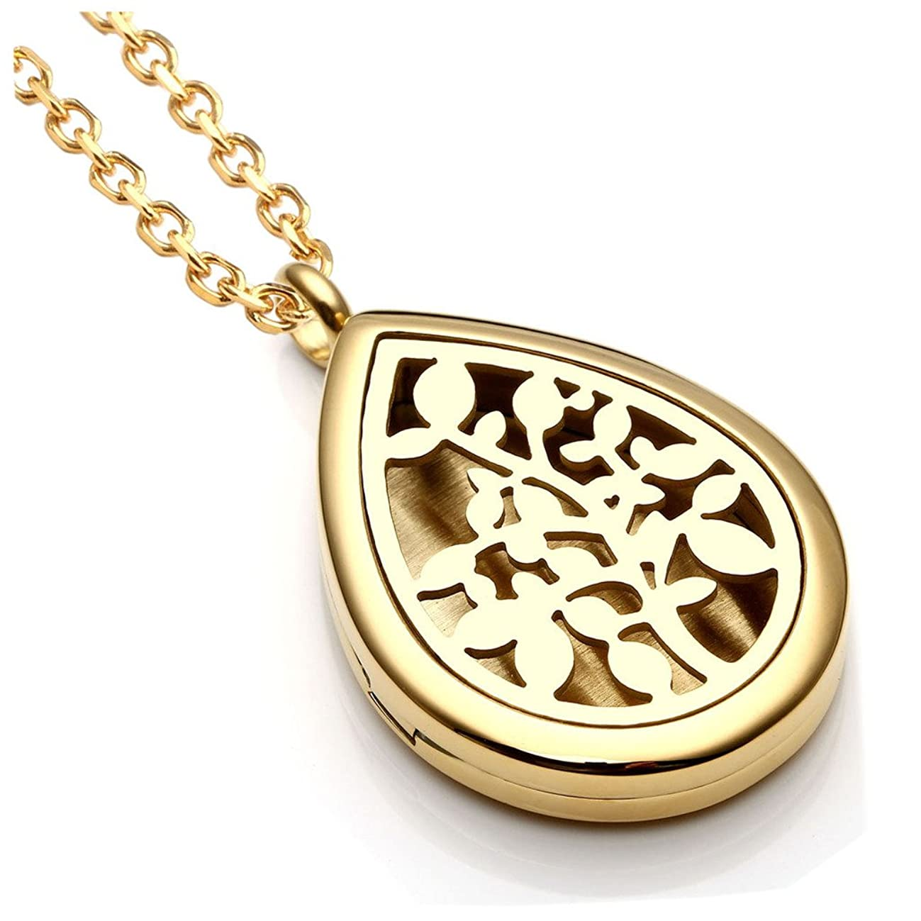 Jovivi 30mm Stainless Steel Silver/Rose Gold Round Water Teardrop Aromatherapy Essential Oil Diffuser Locket Necklace