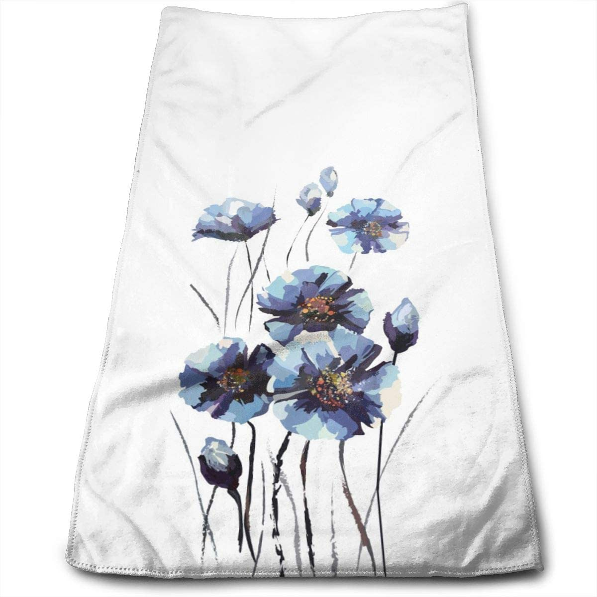 White Hydrangeas Blue Butterfly Hand Towels For Bathroom 27 5 X 12 Soft Microfiber Towel Floral Flower Small Bath Towels Kitchen Dish Towel Home Kitchen