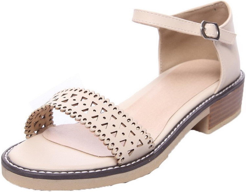 WeiPoot Women's Low-Heels Pu Solid Buckle Open-Toe Sandals