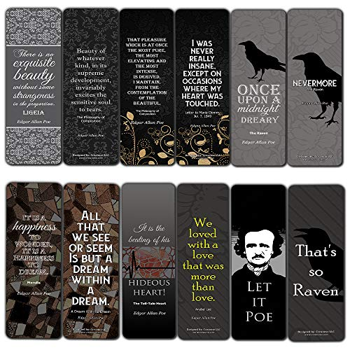 Edgar Allan Poe Bookmarks Cards Series 1 (12-Pack) - Nevermore The Raven - Reader Literary Gift Vintage Decor - Bookish Stocking Stuffers for Adults Men Women Teens