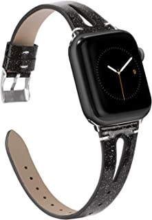Wearlizer Black Leather Band Compatible with Apple Watch Glitter Straps 42mm 44mm iWatch Womens Triangle Hole Wristband Bling Replacement Bracelet (Metal Silver Buckle) Series 4 3 2 1 Edition Sport