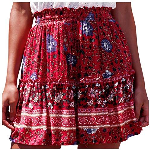 Bohemian Rock, Frauen Sommer LäSsig Vintage Hohe Taille Blumendruck Strand RüSchen Kurzen Rock Sommerrock Vintage Strandrock