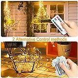 LED Lichterkette Batterie, otumixx 2er 10M 100 Micro LED Lichterkette 8 Modi Batteriebetrieben Kupferdraht Wasserdicht IP68 mit Fernbedienung und Timer für Innen/Außen Weihnachten Deko, Warmweiß - 4