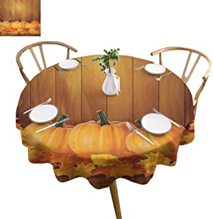 ScottDecor Harvest Fabric Tablecloth Squash Vegetables Pumpkins and Wooden Planks Fallen Dry Maple Leaves Garden Round Tablecloth Orange Yellow Dark Green Diameter 50