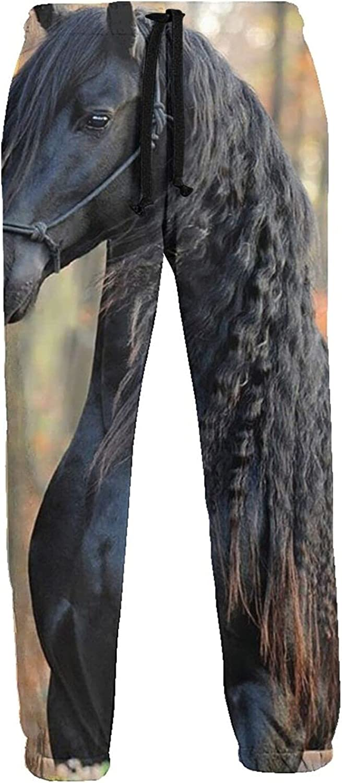 Mens Jogger Sweatpants Black-Horse Walking Lightweight Workout Athletic Joggers Pants Trousers