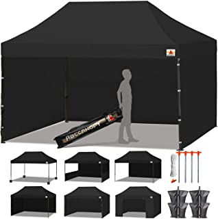 ABCCANOPY 18+ Colors Deluxe 10x15 Pop up Canopy Outdoor Party Tent Commercial Gazebo with Enclosure Walls and Wheeled Carry Bag Bonus 4X Weight Bag and 2X Half Wall (Black)