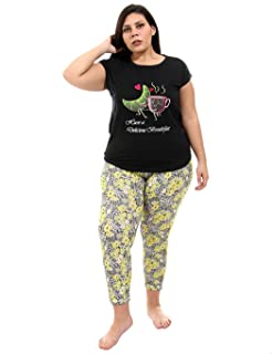 Andora Front Embroidery Short Sleeves Round Neck T-shirt with Pants Pajama Set for Women
