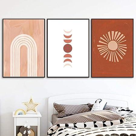 orange wall art boho decor burnt orange print boho sun print