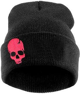 Men Women Winter Embroidered Cuff Beanie Hat Knit Skull Cap