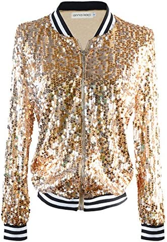 Anna Kaci Womens Sequin Long Sleeve Front Zip Jacket with Ribbed Cuffs Gold Small product image