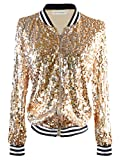 Anna-Kaci Womens Sequin Long Sleeve Front Zip Jacket with Ribbed Cuffs, Gold, Large