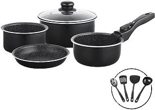 Batería de ollas de 10 piezas para ahorrar espacio en piedra volcánica con mango extraíble y utensilios de cocina, set de sartenes ollas con tapas para cocinas de gas e inducción - 5727