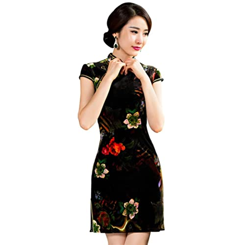 Wincolor Women s East Asian Chinese Traditional Mini Cheongsam Dresses  Velvet Short Sleeve Floral Qipao Dress cac215b6a