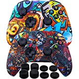 MXRC Silicone Rubber Cover Skin Case Anti-Slip Water Transfer Customize Camouflage for Xbox One/S/X Controller x 2 (Cartoon&Beast) + FPS PRO Extra Height Thumb Grips x 8
