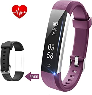 Lintelek Fitness Tracker - Slim Pedometer Watch with Heart Rate and Sleep Monitor, IP67 Waterproof Sports Activity Fitness Smart Watch for Women Men Kids