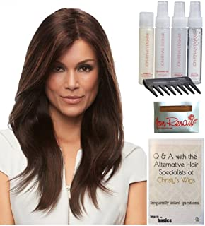 Bundle - 8 items: Zara Petite Wig by Jon Renau, Christy's Wigs Q & A Booklet, 2oz Travel Size Wig Shampoo, Conditioning Spray, Flexible Spray, HD Smooth, Wide Tooth Comb & Wig Cap - Color: 6