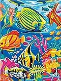 GenericBrands PintarporKitdenúmeros Mundo Submarino DIY Pintura al óleo Kit con Pinceles Pinturas para Niños Seniors Junior 40*50cm sin Marco