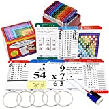 Think2Master Premium 215 Laminated Multiplication Flash Cards. (All 0-12 X facts)| Learn More Than Multiplication.| BONUS: 2 Dry Erase Markers & 5 Rings. | Designed By A Teacher to Improve Test Scores