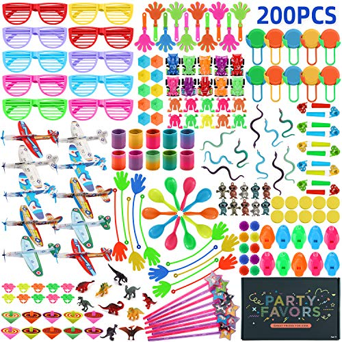 200pcs Birthday Party Favors for Kids Goodie Bags, Pinata Filler Toy Assortment Carnival Prizes for Kids Classroom Rewards Treasure Box Toys