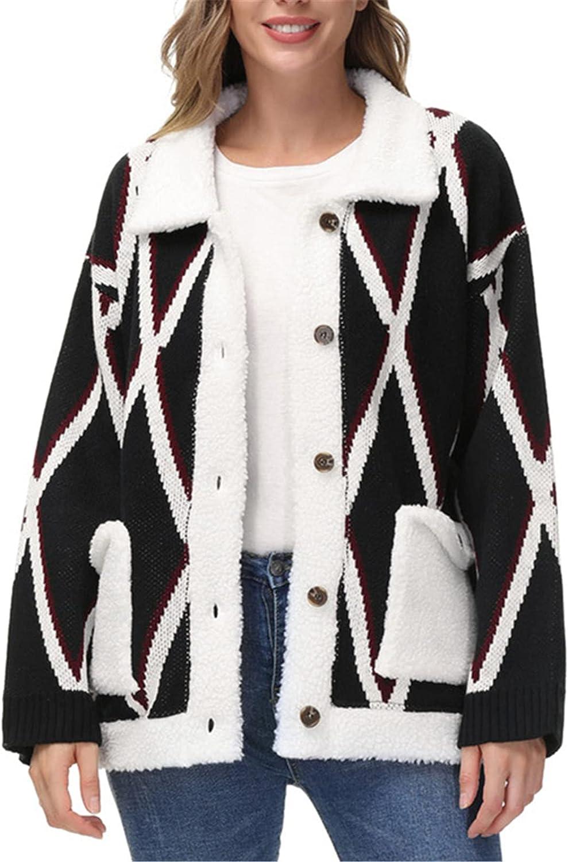 JASAMBAC Women's Geometric Print Button Lapel Knit Sweater Cardigan Coat with Pockets
