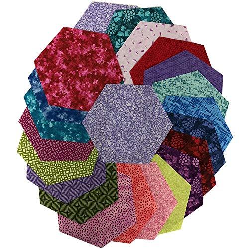 Midwest Textiles Sit 'n Sew Precut Quilters Stash 5'' Hexagon 42 Pcs. Summer Blender