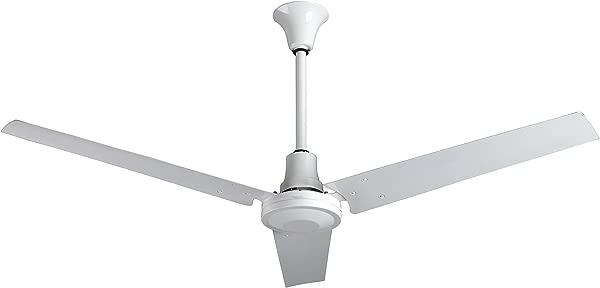 VES 工业车库吊扇 Downrod 英寸法令》适用于室内或室外正向反向 60 英寸防潮带控制白
