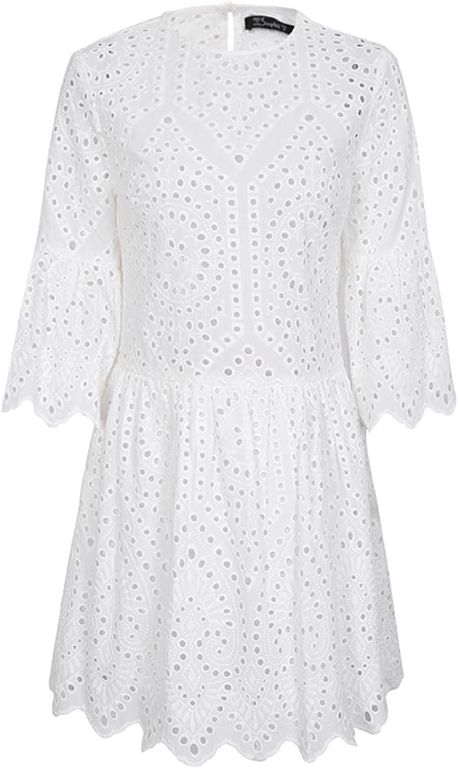 Women Cotton Lace Embroidery Button Ruffle Sleeve Causal White Dress