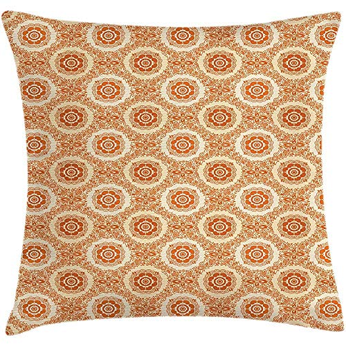 Throw Pillow Orange and Beige Cushion Cover, Ornamental Baroque Leaves and Flowers Victorian Vintage Pattern, Decorative Square Accent Pillow Case,Orange and Beige Size:16X16 Inches/40X40cm