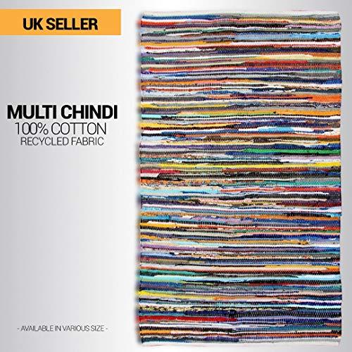 Allure fait à la main Tapis Unique Chindi Rug Recycled Fabric Handloom Tapis 70 x 140 cm